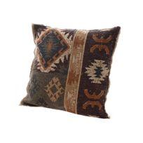 Decoris - Coussin déhoussable à frange motif navajo ethnique rouge/marron 45x45cm Mana