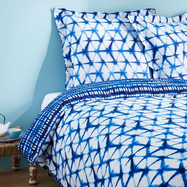 tex home parure tye and dye housse de couette 2 taies d 39 oreiller en coton pas cher achat. Black Bedroom Furniture Sets. Home Design Ideas