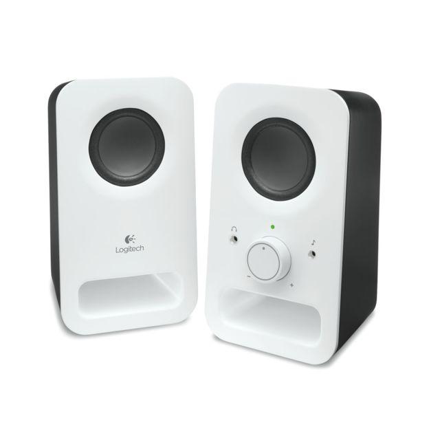 LOGITECH Enceintes Z150 SNOW WHITE SOA PLA Z150 Multimedia Speakers Deux transducteurs de 5 cm Entrée audio de 3,5 mm et ligne auxiliaire de 3,5 mm Commandes intégrées intégrées Taille compacte