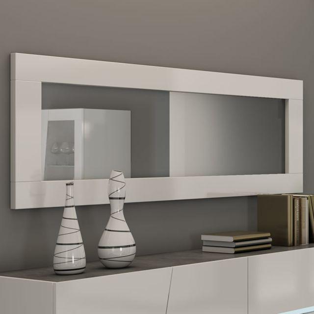 Sofamobili Grand miroir mural blanc laqué design Joshua