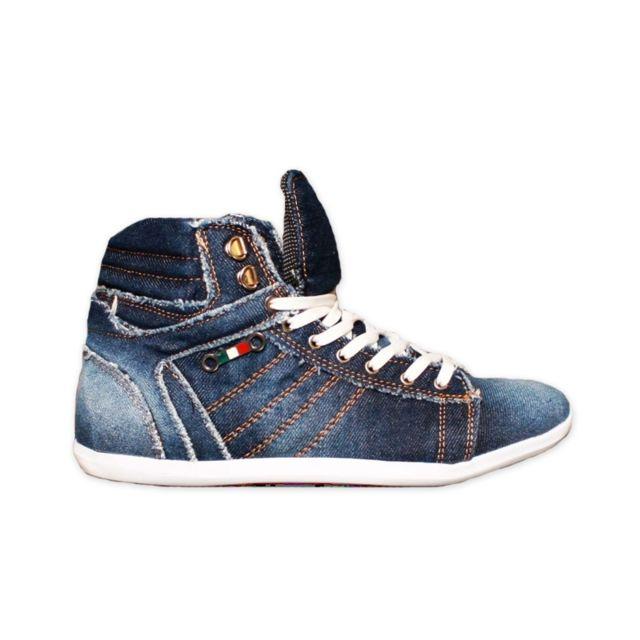 Tamboga - Baskets montantes en jean homme Basket 808 Tbg montante jean bleu  fonce 9d8eb37d6a95