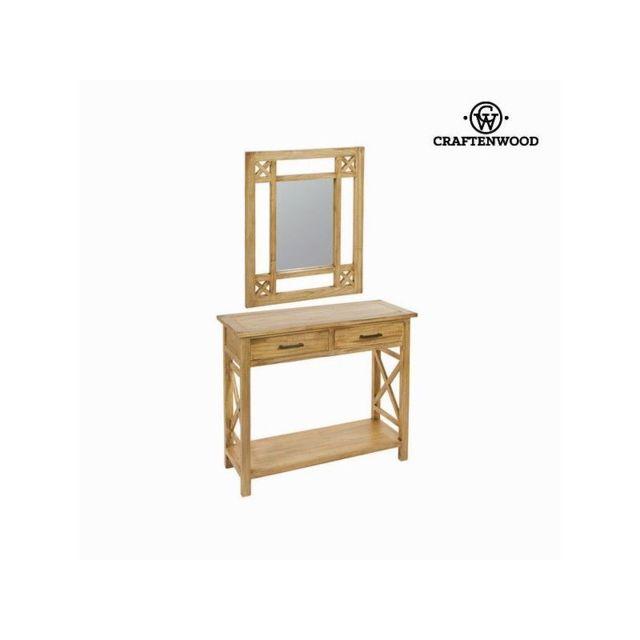 Craften Wood Meuble d'entrée avec miroir ios - Collection Village by Craftenwood