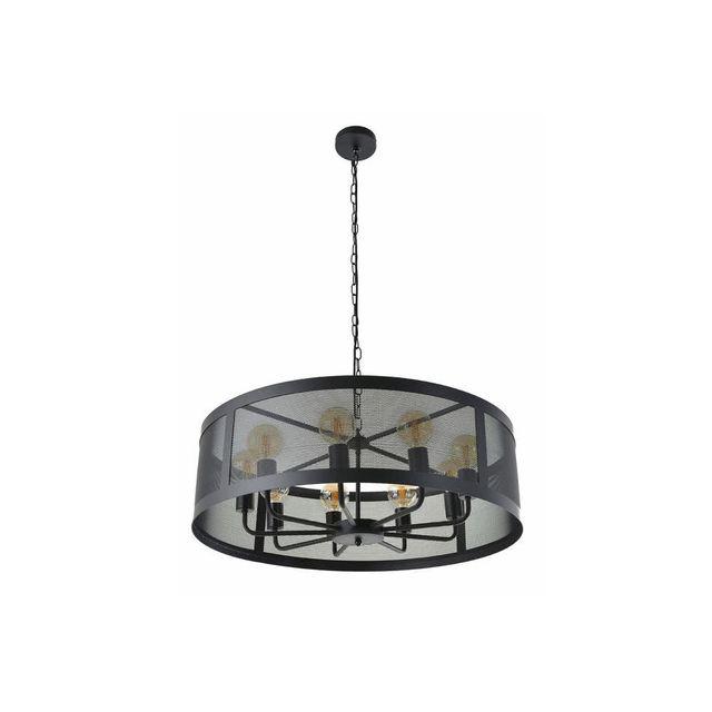 Corep Lustre Style Industriel 9 Lumières En Métal Noir