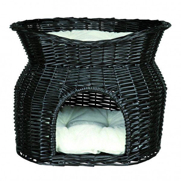 trixie panier en osier noir avec 2 couchettes pour chats n a pas cher achat vente coussin. Black Bedroom Furniture Sets. Home Design Ideas