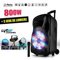 """Party Sound - Enceinte mobile active 800W 15"""" Led/USB/BT/SD/FM + Micro + 3 jeux de lumière LytOr"""