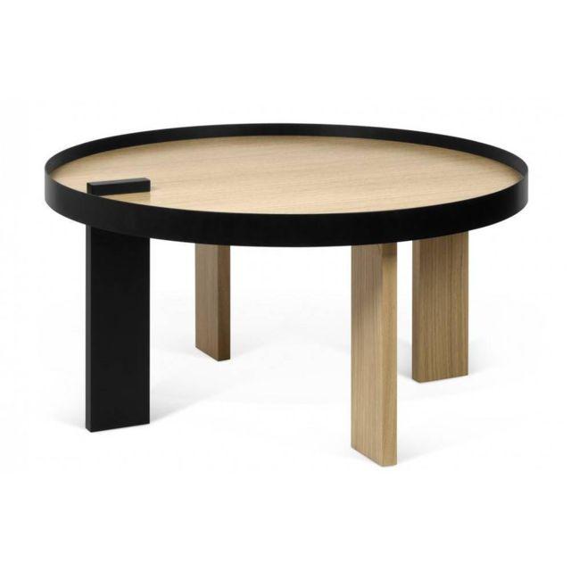 Inside 75 Table basse Bruno 80 Gm chêne et métal