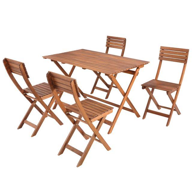 CARREFOUR - Salon de balcon 5 pièces acacia pliant - THANL ...