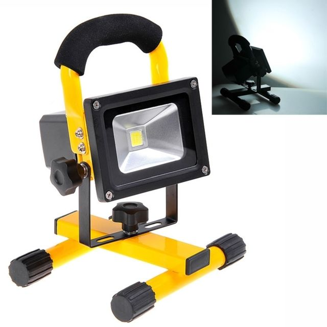 wewoo projecteur led blanc kx 913 rechargeable portable 10w 900lm 6000k lampe de jaune pas. Black Bedroom Furniture Sets. Home Design Ideas