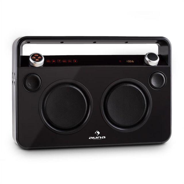 AUNA Bebop Ghettoblaster noir USB Bluetooth AUX MIC batterie intégrée