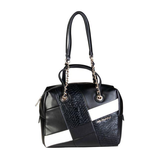 22774ee204 Buzzao - Sac porté épaule noir détail blanc et doré Blu Byblos - Diana -  pas cher Achat / Vente Sacs à main - RueDuCommerce