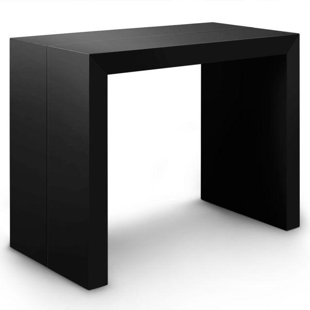 a7ee0e5248220b Table Console Extensible Oxalys Noir carbone - pas cher Achat   Vente Tables  à manger - RueDuCommerce