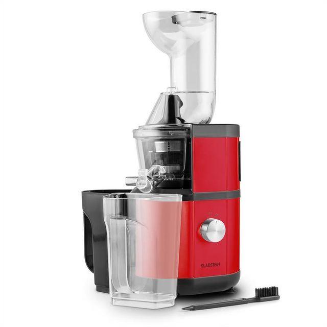 KLARSTEIN Fruitberry Extracteur de jus Slow Juicer 400W 60T/min Ø 8,5cm -rouge