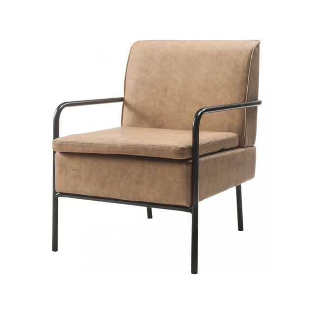 Bobochic Fauteuil moderne et confortable Eulia Cognac
