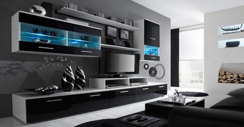 Home Innovation - Meuble de télévision, Meuble de Salon moderne avec Leds, Blanc Mate et Noir Laqué, Dimensions : 250x194x42 cm de profondeur