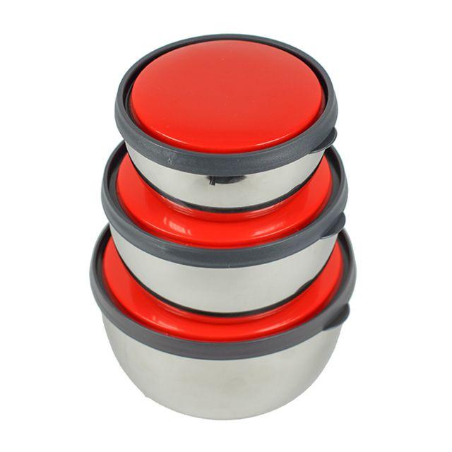 MAISON FUTEE Ensemble de 3 bols en Inox, couvercle rouge