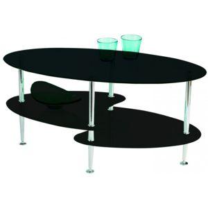 modern design - table basse en verre noir 3 plateaux joko chrome