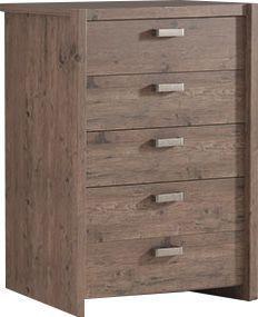 Comforium Commode haute à 5 tiroirs 90x110 cm coloris pin écossais