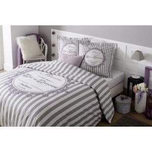 tex home parure lavande housse de couette 2 taies d 39 oreiller en coton gris pas cher achat. Black Bedroom Furniture Sets. Home Design Ideas