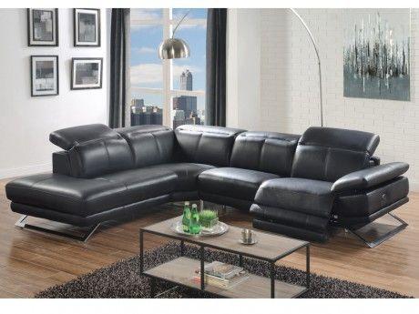 Linea Sofa Canape D Angle Relax Electrique En Cuir Puno Noir