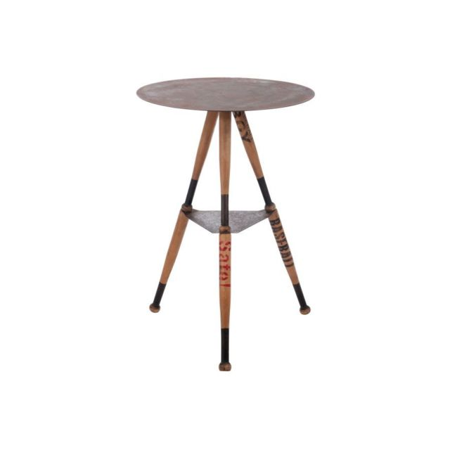HELLIN TABLE HAUTE BASEBALL RONDE - METAL/BOIS NATUREL