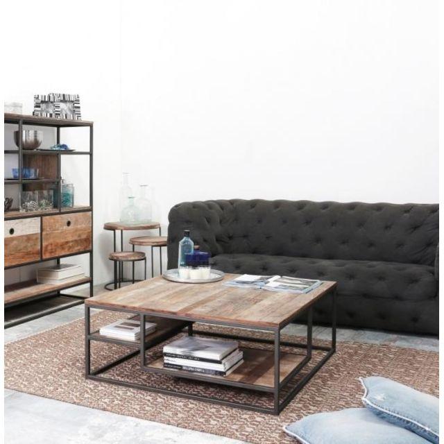Dbodhi Table basse carrée 100 x 100 cm gamme tuareg