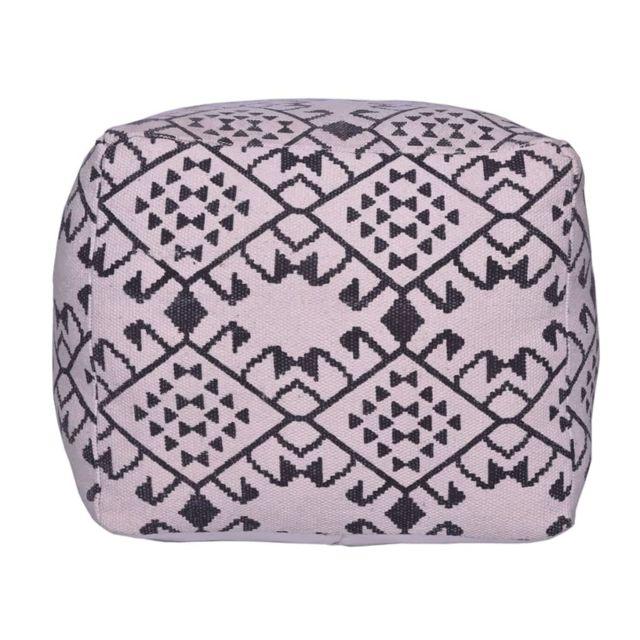 Bhp Pouf en forme de cube Noir et blanc Tissu B413064