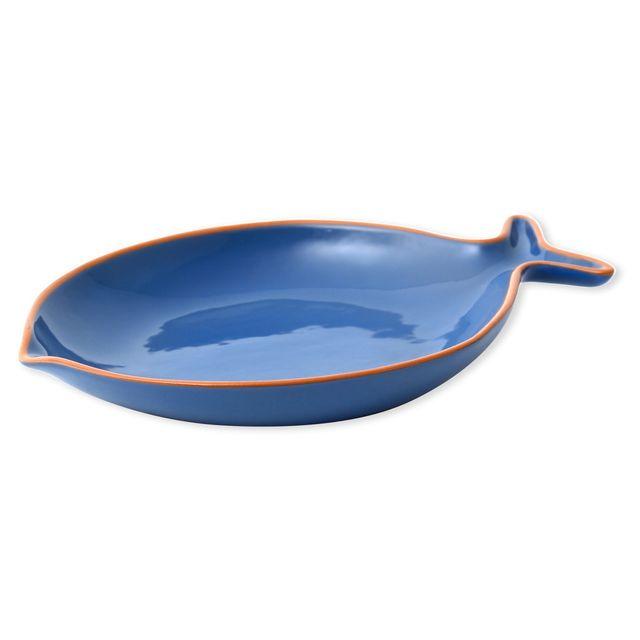 Bruno Evrard - Plat creux poisson bleu en céramique 29x22cm - Céramique - Bleu foncé, Bleu ciel