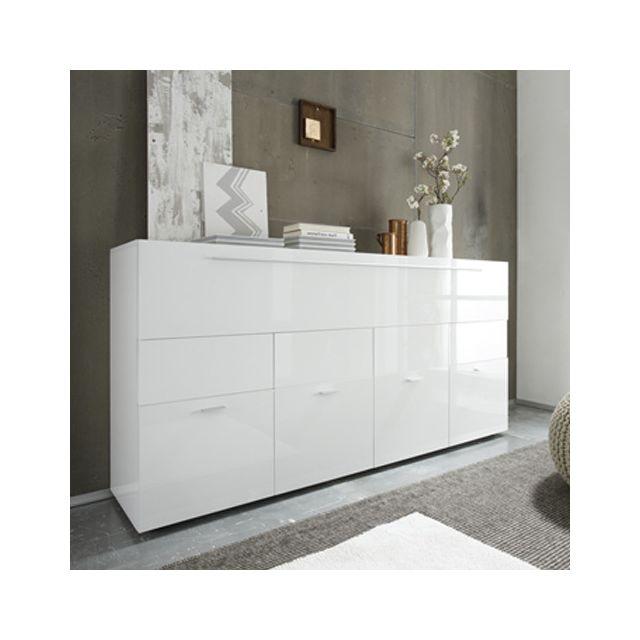Buffet blanc laqué design 4 portes 1 tiroir Lina