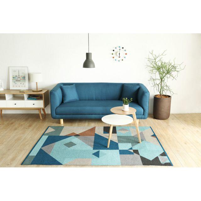 CONCEPT USINE Canapé design scandinave Bergen : 3 places bleu + 2 coussins