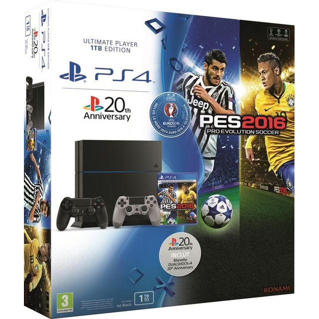 sony pack ps4 1 to pes 2016 dition uefa euro 2016 pas cher achat vente console ps4. Black Bedroom Furniture Sets. Home Design Ideas