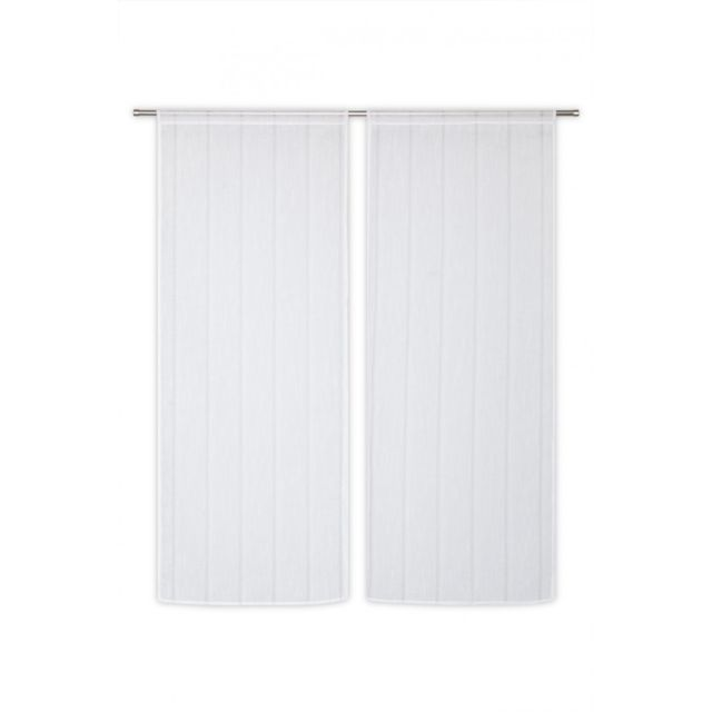 rideaudiscount paire voilages vitrages 60 x 160 cm passe tringle tissu l ger effet gaze de lin. Black Bedroom Furniture Sets. Home Design Ideas