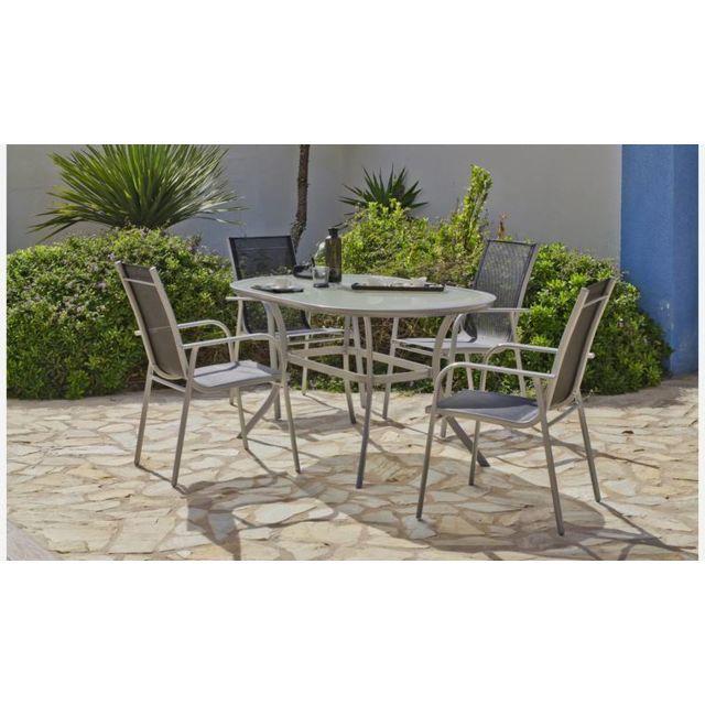 House and Garden - Salon De Jardin Ovale En Aluminium Gris ...