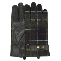 Barbour - Mens Black Classic Tartan Leather Gloves -small