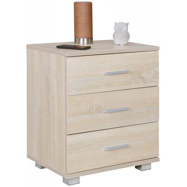 Soldes COMFORIUM - Table de chevet contemporaine 45 cm à 3 tiroirs ...