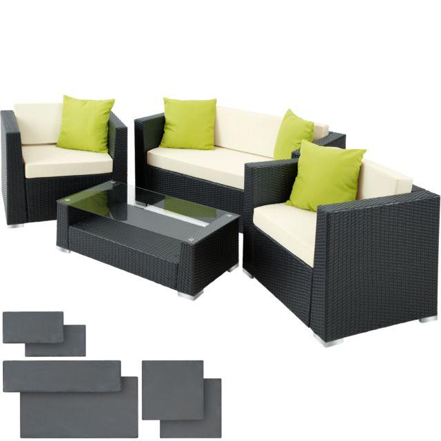 Salon de jardin MUNICH 2 Fauteuils 1 Canapé 1 Table en Résine Tressée  structure Aluminium Noir