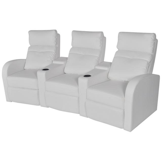 Vidaxl Canapé inclinable Cinéma maison 3 sièges en cuir synthétique blanc