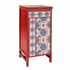 Comptoir de famille chiffonnier en bois avec 6 tiroirs - Soldes comptoir de famille ...