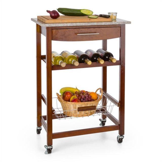 KLARSTEIN Chariot de service desserte cuisine 4 niveaux plan de travail granit