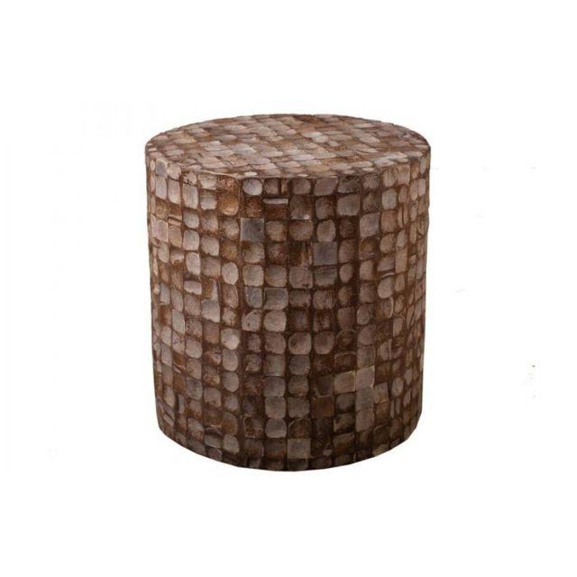Inside 75 Tabouret cylindrique design Clara en coconut coloris café style colonial