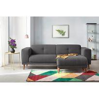 BOBOCHIC - Canapé LUNA avec Pouf - Style Scandinave - Gris foncé