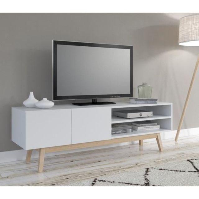Meuble Tv Meuble Hi Fi Home Meuble Tv Scandinave Laqué Blanc Piétement En Bois Massif L 160 Cm