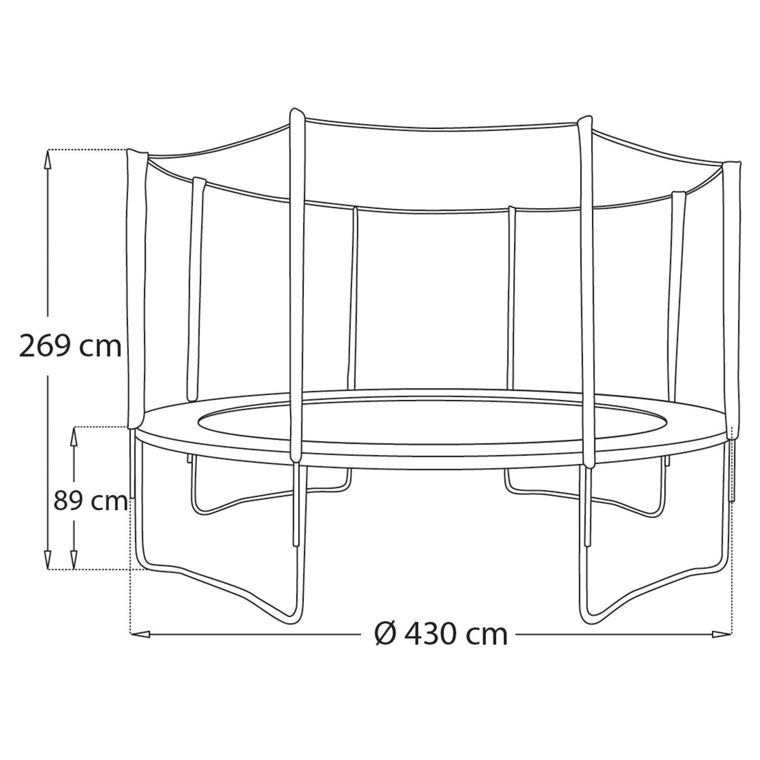 Pack Premium Trampoline 430cm réversible vert / bleu MELBOURNE + filet, échelle, bâche et kit d'ancrage