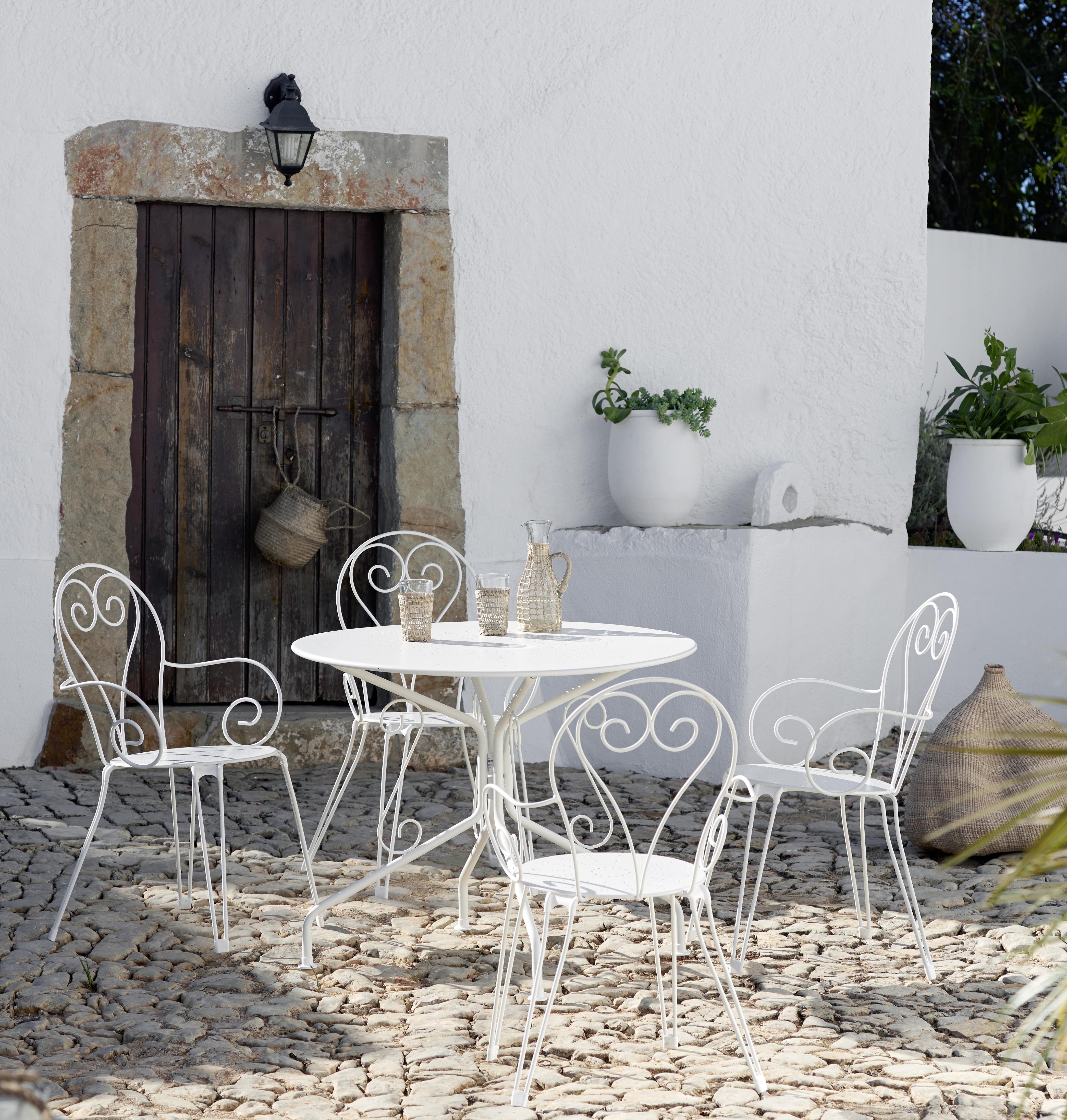 CARREFOUR - Table de jardin ronde romantique - Blanc - pas cher ...