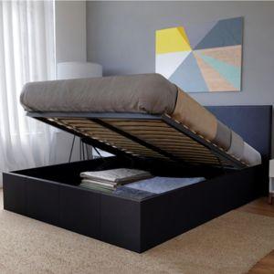 no name lit coffre barcelona 160x200 1 matelas m moryform 1 sommier noir 160cm x 200cm. Black Bedroom Furniture Sets. Home Design Ideas