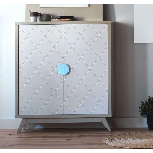 Cubisl Meuble Rangement - Laqué Vison brillant, Portes laquées blanc - 96x29x112 - L'unité