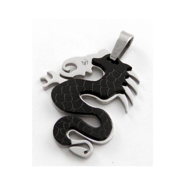 e9aac000e8c Sans Marque - Pendentif Noir Homme Acier Collier Dragon M H 496 ...