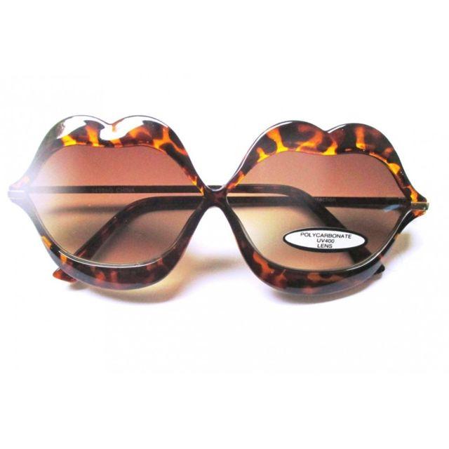 6798116b525d0 Universel - Lunette de soleil femme forme bouche levre leopard pin up  rockabilly