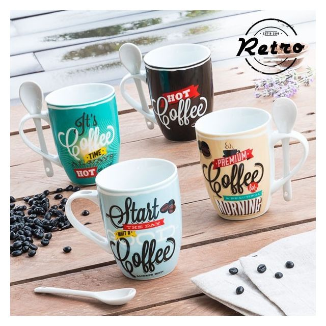 Retro Tasses avec Cuillères à café Rétro Coffee pack de 4