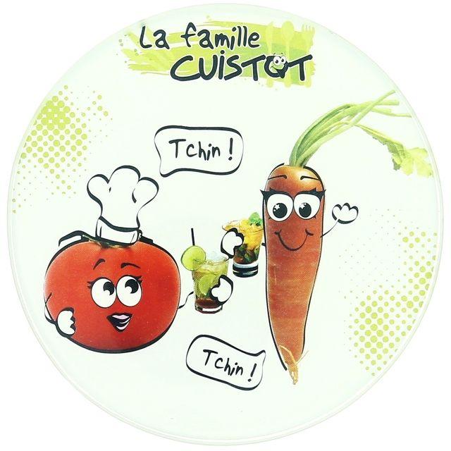 Promobo Lot Set 6 Dessous De Verre Design Fun Imprimé Ludique Famille Cuistot Rond