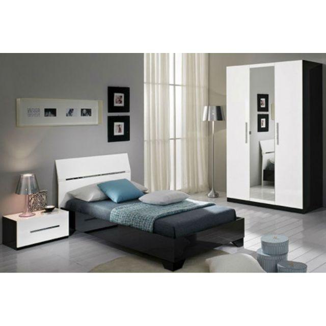 Chambre A Coucher Model Gloria Noir Blanc Armoire 3 Portes